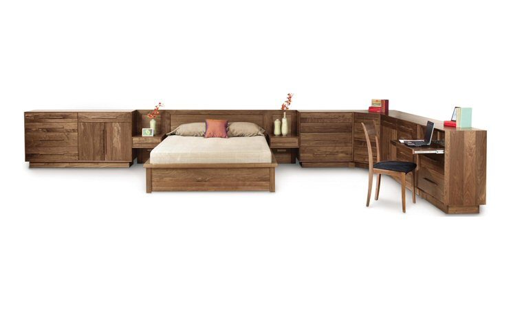 copeland furniture moduluxe 35in high panel headboard storage bed free shipping - Copeland Furniture
