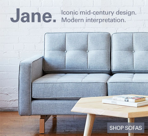 Jane Sofa by Gus Modern. Iconic mid-century design. Modern interpretation.