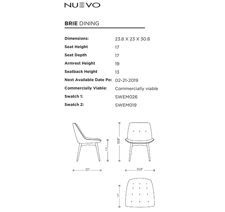 Nuevo Brie Dining Chair Black: Nuevo Living Brie Dining Room Chair