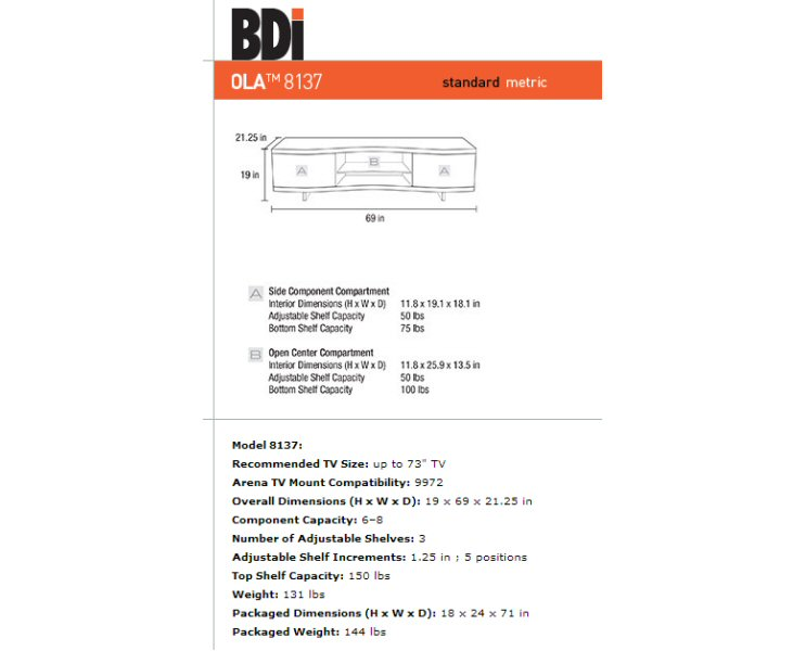 Bdi Ola 8137 Home Theater Cabinet