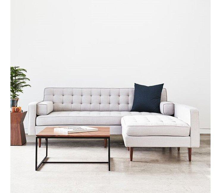 Gus Modern Spencer Wood Base Sectional Sofa
